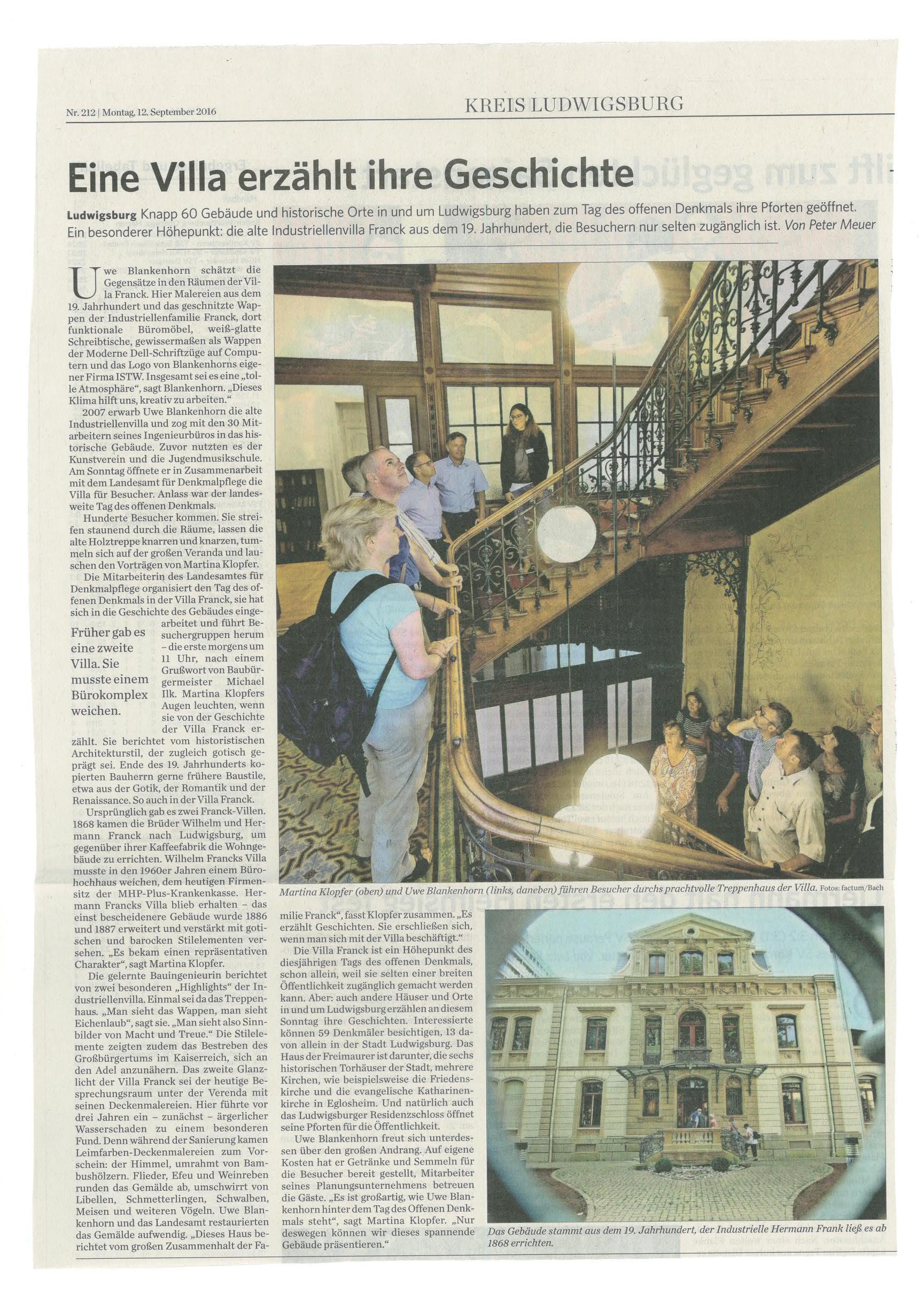 Stuttgart Zeitung vom 12.09.2016