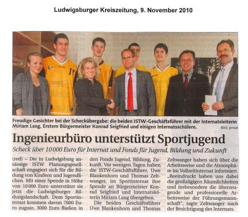 Ludwigsburger Kreiszeitung, 09.11.2010