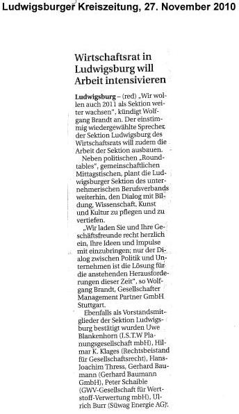 Ludwigsburger Kreiszeitung, 27.11.2010