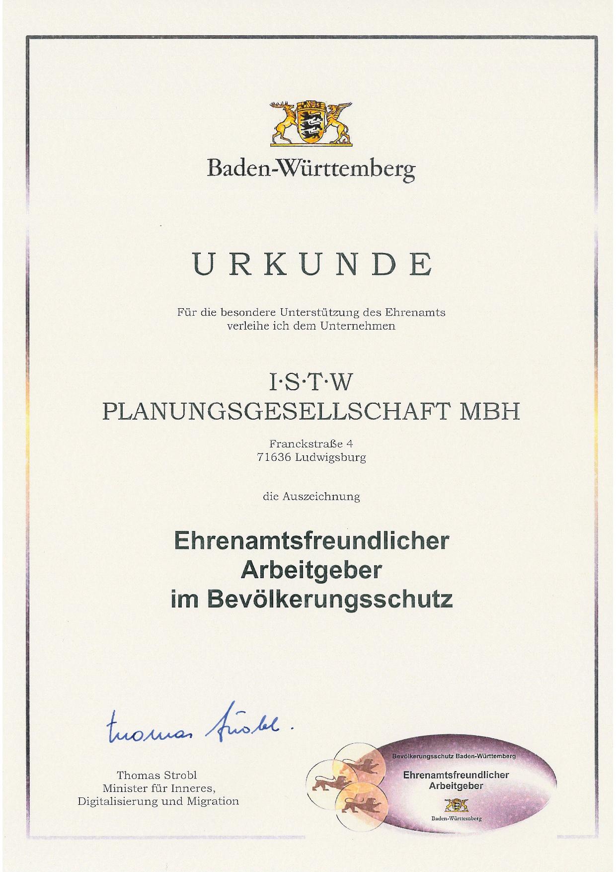 Urkunde mit Unterschrift